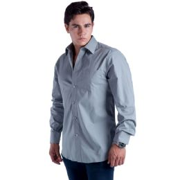 24 Units of Mens Button Down Dress Shirt In Dark Grey - Mens Polo Shirts