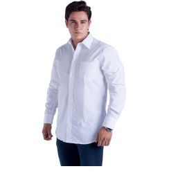 24 Units of Mens Button Down Dress Shirt In White - Mens Polo Shirts