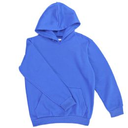 12 Units of Boys Long Sleeve Sherpa Lined Hoody Sweater In Royal Blue Color - Boys Sweaters