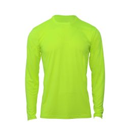 60 Units of Mens Base Layer Crew Neck Long Sleeve Shirt Plus Size In Yellow - Mens T-Shirts