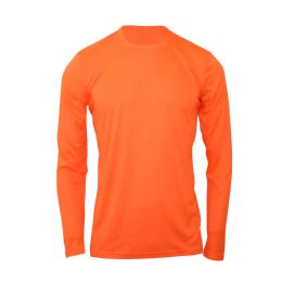 60 Units of Mens Base Layer Crew Neck Long Sleeve Shirt Plus Size In Orange - Mens T-Shirts