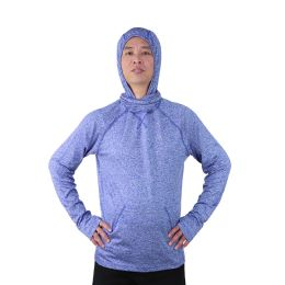 12 Units of Mens Pullover Marled Sweatshirt With Neck Extension And Face Cover In Royal Blue - Mens Sweat Shirt