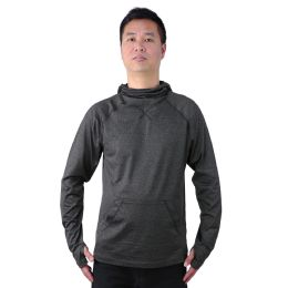 12 Units of Mens Pullover Marled Sweatshirt With Neck Extension And Face Cover In Dark Grey - Mens Sweat Shirt