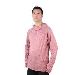 12 Units of Mens Pullover Marled Sweatshirt With Neck Extension And Face Cover In Burgandy - Mens Sweat Shirt