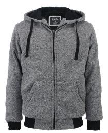 12 Units of Mens Marled Zip Up Fleece Lined Hoody Light Grey - Mens Sweat Shirt