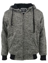 12 Units of Mens Marled Zip Up Fleece Lined Hoody In Olive - Mens Sweat Shirt
