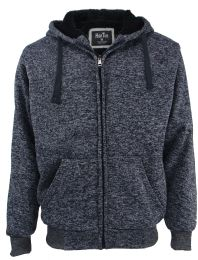 12 Units of Mens Marled Zip Up Fleece Lined Hoody Plus Size In Navy - Mens Sweat Shirt