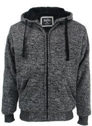 12 Units of Mens Marled Zip Up Fleece Lined Hoody Plus Size In Dark Grey - Mens Sweat Shirt