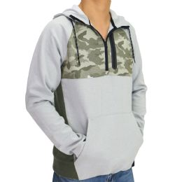 12 Units of Mens Camo Colorblock Pullover Hoody In Olive - Mens Sweat Shirt