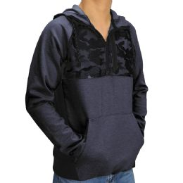 12 Units of Mens Camo Colorblock Pullover Hoody In Charcoal - Mens Sweat Shirt
