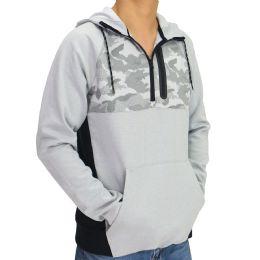 12 Units of Mens Camo Colorblock Pullover Hoody In Grey - Mens Sweat Shirt