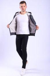 12 Units of Mens Fleece Lined Full Zip Hoody Sweater In Charcoal - Mens Sweat Shirt