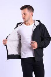 12 Units of Mens Fleece Lined Full Zip Hoody Sweater In Black - Mens Sweat Shirt