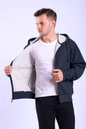 12 Units of Mens Fleece Lined Full Zip Hoody Sweater In Navy - Mens Sweat Shirt