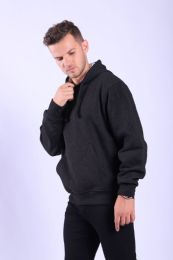 12 Units of Mens Fleece Lined Pullover Hoody In Black - Mens Sweat Shirt