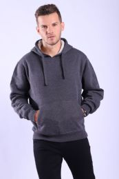 12 Units of Mens Fleece Lined Pullover Hoody In Charcoal - Mens Sweat Shirt