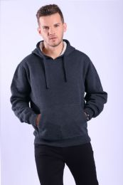 12 Units of Mens Fleece Lined Pullover Hoody In Navy - Mens Sweat Shirt