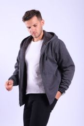 12 Units of Mens Sherpa Lined Full Zip Hoody Sweater In Charcoal - Mens Sweat Shirt