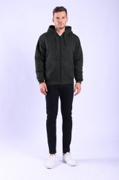 12 Units of Mens Sherpa Lined Full Zip Hoody Sweater In Black - Mens Sweat Shirt