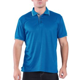 24 Units of Mens Waffit Polo Tee Shirt In Royal Blue - Mens Polo Shirts