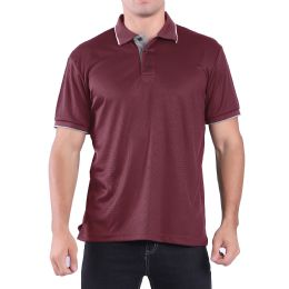 24 Units of Mens Waffit Polo Tee Shirt In Red Plus Size - Mens Polo Shirts