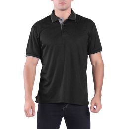 24 Units of Mens Waffit Polo Tee Shirt In Black Plus Size - Mens Polo Shirts