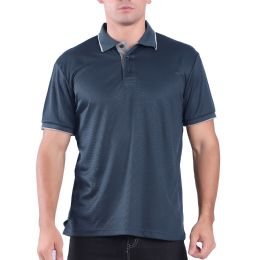 24 Units of Mens Waffit Polo Tee Shirt In Navy Plus Size - Mens Polo Shirts