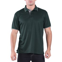 24 Units of Mens Waffit Polo Tee Shirt In Olive Plus Size - Mens Polo Shirts