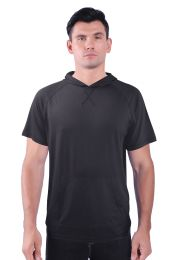 72 Units of Mens Pullover Hoody Tee Shirt With Kangaroo Pocket In Black - Mens Polo Shirts