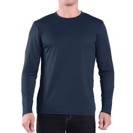 60 Units of Mens Crew Neck Base Layer Long Sleeve Shirt In Navy Plus Size - Mens Polo Shirts