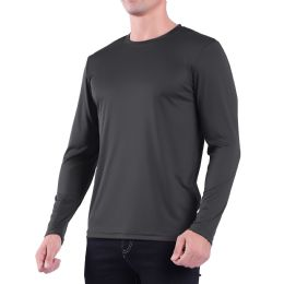 60 Units of Mens Crew Neck Base Layer Long Sleeve Shirt In Dark Grey Plus Size - Mens Polo Shirts
