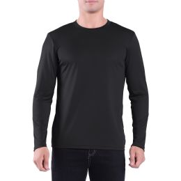 60 Units of Mens Crew Neck Base Layer Long Sleeve Shirt In Black Plus Size - Mens Polo Shirts
