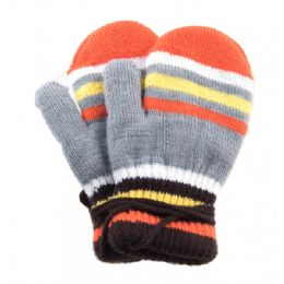 96 Units of Kids Mitten With String Striped - Knitted Stretch Gloves