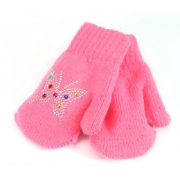 48 Units of Kids Mitten Studded Prints - Knitted Stretch Gloves