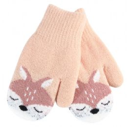 36 Units of Kids Mitten Deer Print - Knitted Stretch Gloves