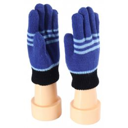 72 Units of Kids Gloves Color Stripes - Kids Winter Gloves