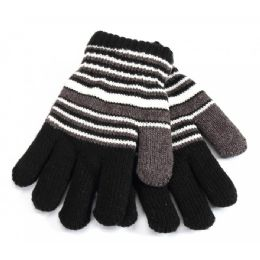 48 Units of Kids Gloves Striped - Kids Winter Gloves