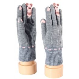 48 Units of Kids Gloves Animal Print - Kids Winter Gloves