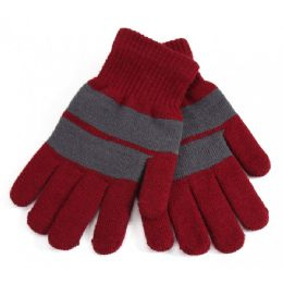 72 Units of Fur Lined Striped Gloves - Knitted Stretch Gloves