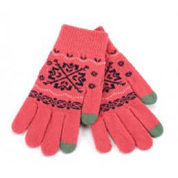 48 Units of Ladies Touch Screen Glove Snowflake Print - Conductive Texting Gloves