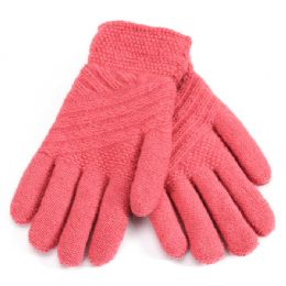 36 Units of Ladies Fur Lined Knitted Glove - Knitted Stretch Gloves