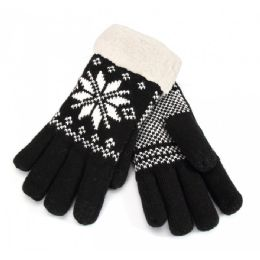 12 Units of Touch Screen Ladies Gloves Snow Print Fur Lined - Knitted Stretch Gloves