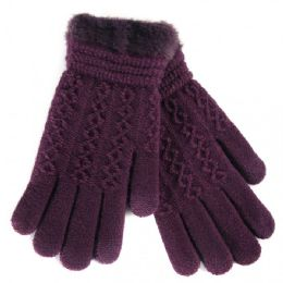 36 Units of Women's Fur Lined Knitted Ladies Gloves - Knitted Stretch Gloves