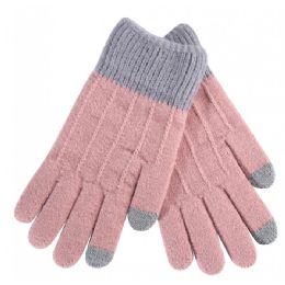 36 Units of Women's Striped Kitted Gloves - Knitted Stretch Gloves