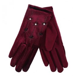 36 Units of Ladies Gloves With Pearls And Flower - Knitted Stretch Gloves