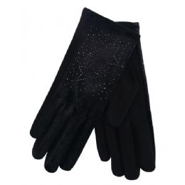 36 Units of Ladies Winter Glove With Star - Knitted Stretch Gloves