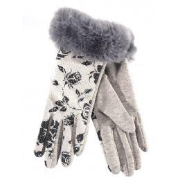 36 Units of Ladies Winter Glove Flower Print With Fur Cuff - Fuzzy Gloves