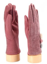 36 Units of Ladies Glove With Fuzzy Button - Fuzzy Gloves