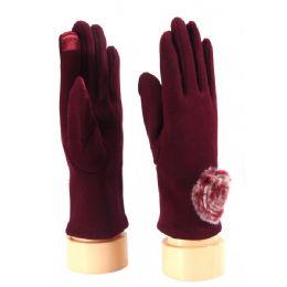 36 Units of Ladies Glove With Fuzzy Flower - Fuzzy Gloves