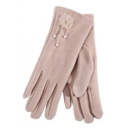 36 Units of Ladies Glove With Fuzzy Flower And Pearl - Fuzzy Gloves